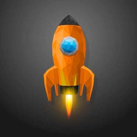 Space rocket launch 3d polygon. Vector illustration Vector