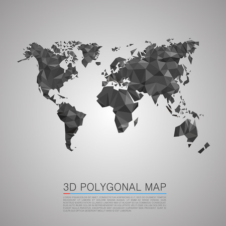 world map countries: Map 3d polygon art map. Vector illustration Illustration