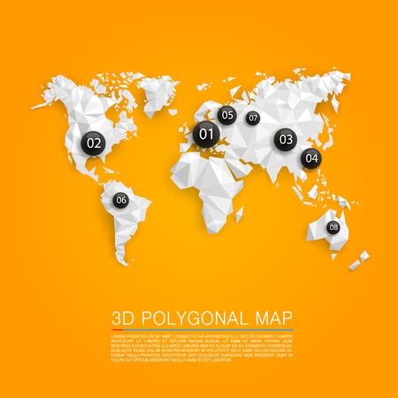 3 d ポリゴン アート マップをマップします。ベクトル図