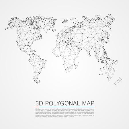 polygon: Map 3d polygon art map. Vector illustration Illustration