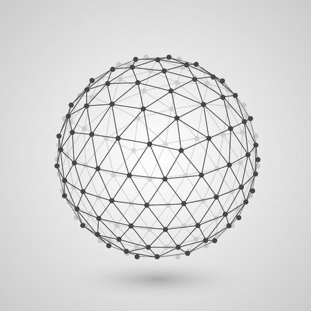 icosahedron: Polygonal sphere of information art. Vector illustration