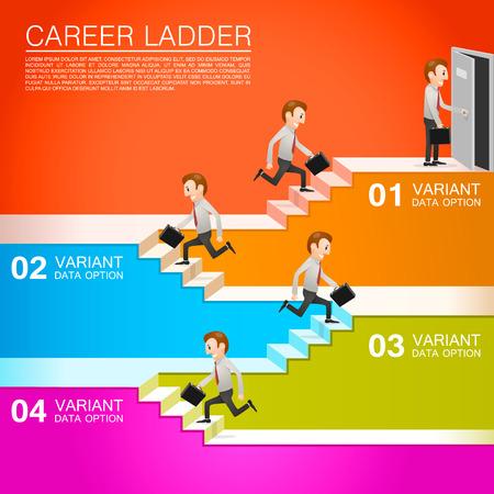 Employé de bureau monte la carrière. Vector illustration