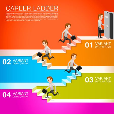 Office worker climbs the career. Vector illustration Çizim