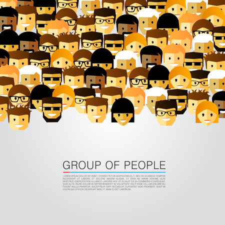 meet: Large group of people art. Vector illustration