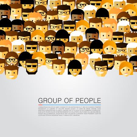 Velká skupina lidí, umění. Vektorové ilustrace