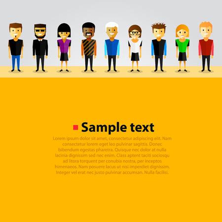 happy employees: With happy cartoon people art. Vector illustration