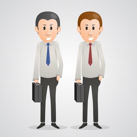 intelligent partnership: Office men art people business. Vector illustration