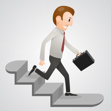 Office man running downstairs art. Vector illustration