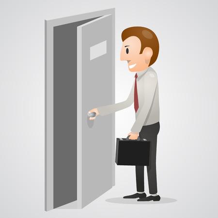 leaving: Office man het openen van een deur. Vector illustratie