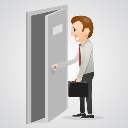 Office man opening a door. Vector illustration Illustration
