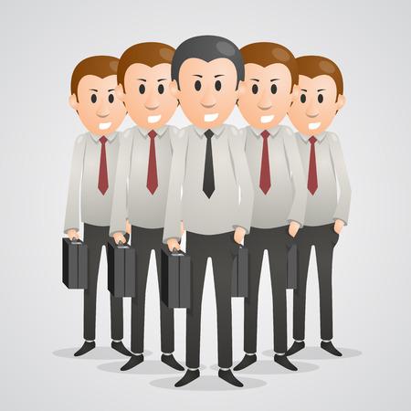 intelligent partnership: Office men with suitcases art. Vector illustration
