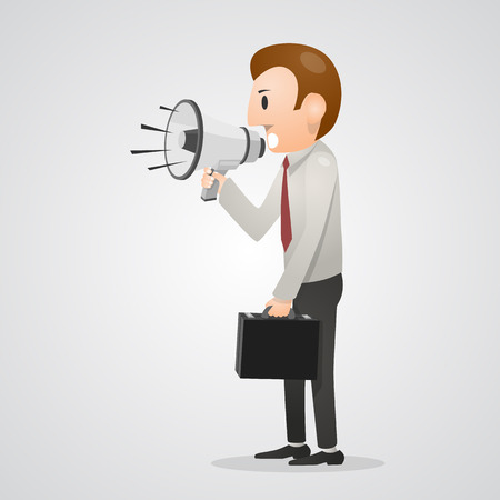 loudly: Office man shouting in megaphone. Vector illustration