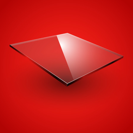 plexiglas: Glass framework on green background. Vector illustration.
