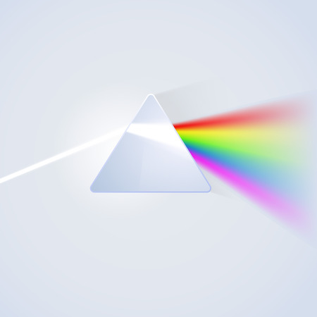 Glass prism on light background. Vector illustration Ilustração