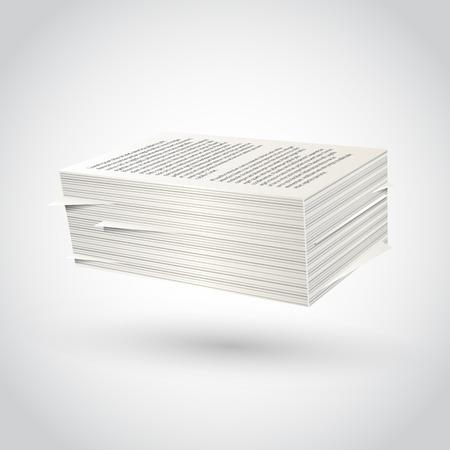 흰색 배경에 종이 묶음. 벡터 일러스트 레이 션.