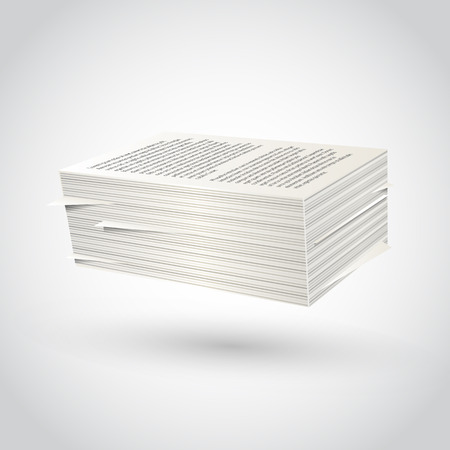 Ream of paper on white background. Vector illustration.