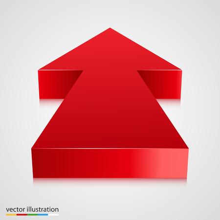 towards: Red 3d arrow pointing towards. Vector illustration
