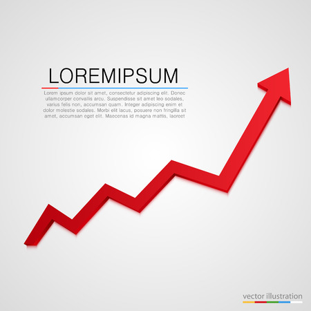 sales graph: Growing business arrow on white background. Vector illustration Illustration