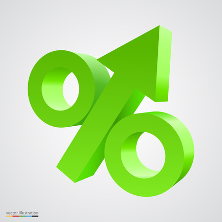bank rate: Three-dimensional percent icon with arrow in the middle. Vector illustration Illustration