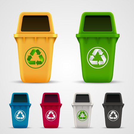 recycle bin: Ecological trash set art color. Vector illustration
