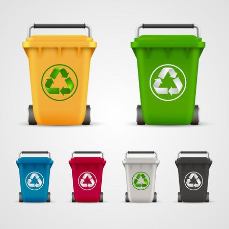 utilize: Ecological trash set art color. Vector illustration