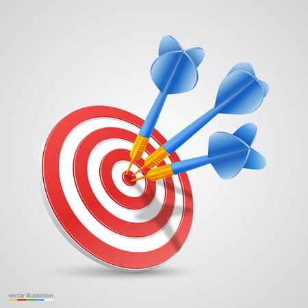 3d art: Target with darts 3d art. Vector illustration Illustration
