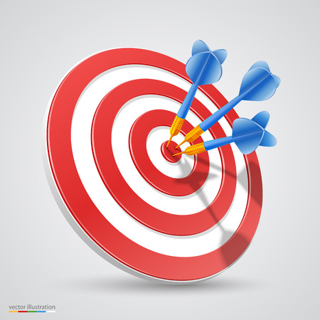 Target with darts 3d art. Vector illustration Vectores