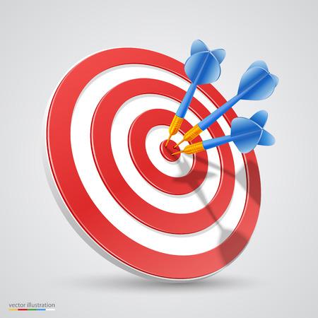 Target with darts 3d art. Vector illustration Stock Illustratie