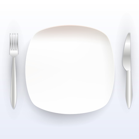 place setting: Plate with tools on a white background. Vector illustration