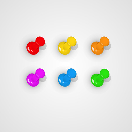 paper pin: Pushpin all kinds of color. Vector illustration