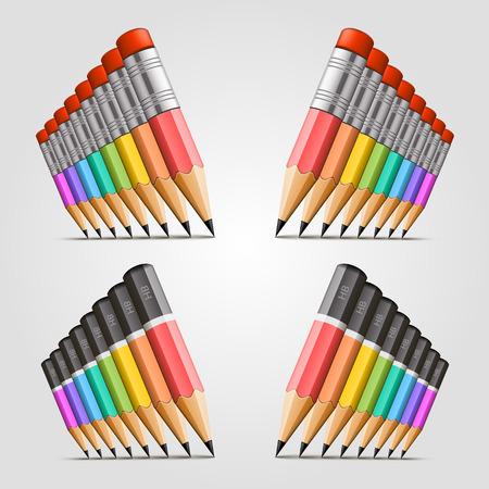 sharpen: Number of pencils art set. Vector illustration Illustration