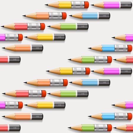 sharpen: Pencils background seamless art cover. Vector illustration