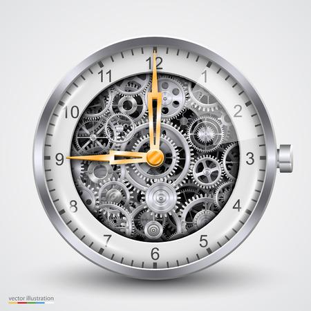 wrist watch: Hours of gears. art creavice. Vector illustration