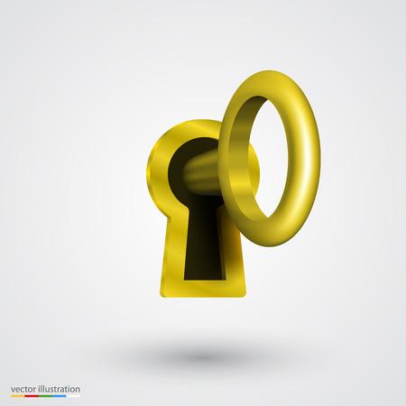 key hole: Keyhole with key gold art. Vector illustration