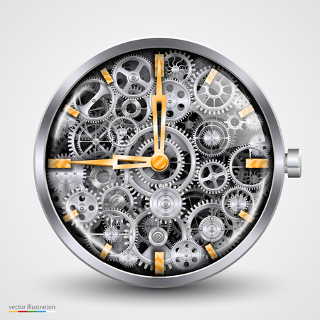 electronics parts: Hours of gears. art creavice. Vector illustration