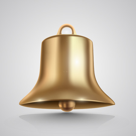 church bells: Golden bell isolated on white. Vector illustration Illustration