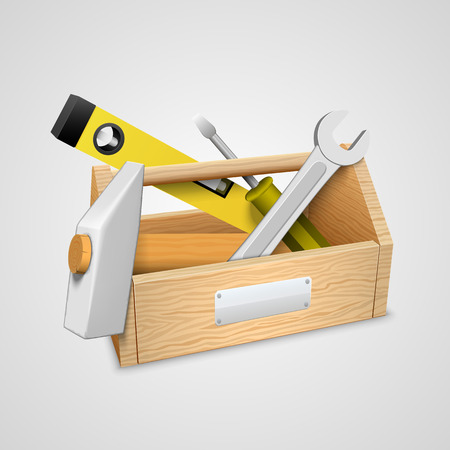 Box with tools art 3d object. Vector illustration Vector