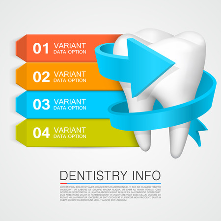 Tandheelkunde info medische kunst creatief. Vector Illustratie