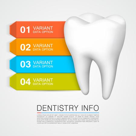 caries dental: Informaci�n m�dica de arte creativo Odontolog�a. Ilustraci�n vectorial