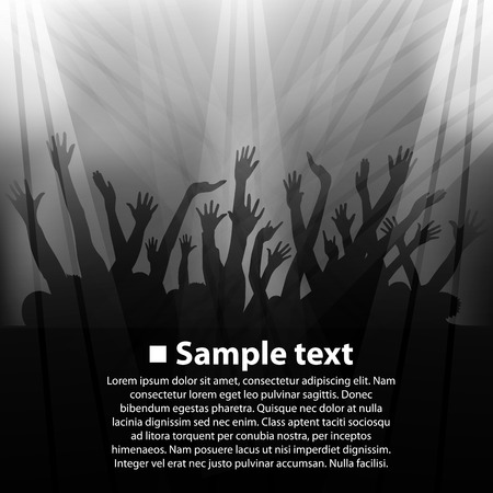young group: Concert, fan zone art banner. Vector illustration