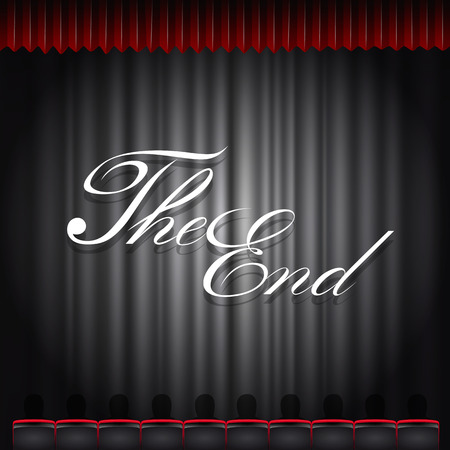 musical theater: Cinema auditorium with screen and seats. Vector illustration