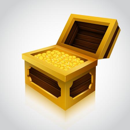 treasure box: Wooden treasure chest on white background. Vector illustration