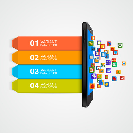 mobile application: Infographic Design. Smartphone applications business concept. Vector illustration
