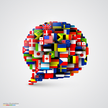 languages: World flags in form of speech bubble. Vector illustration Illustration