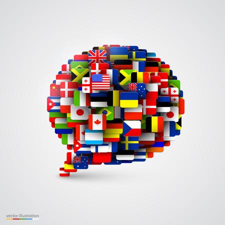 translation: World flags in form of speech bubble. Vector illustration Illustration