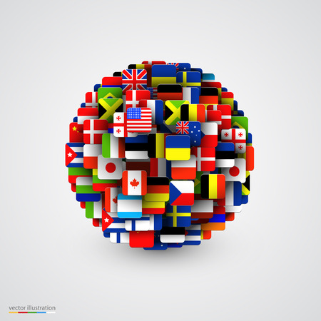World flags in form of sphere. Vector illustration Çizim