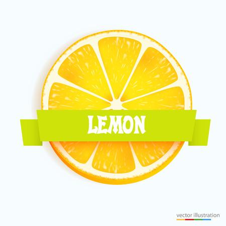 lemon slice: Fresh lemon slice with stripe. Vector illustration