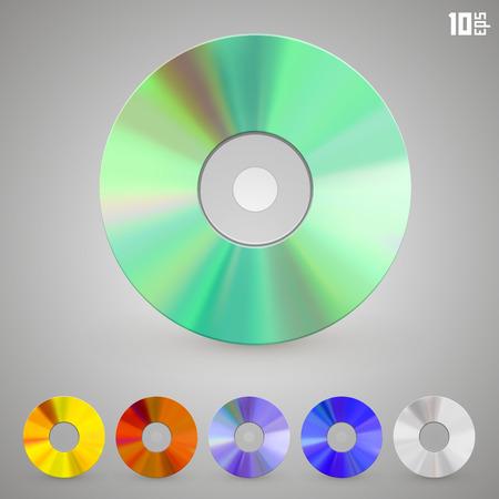 cd rom: Cd disks of different colors art set. Vector Illustration Illustration