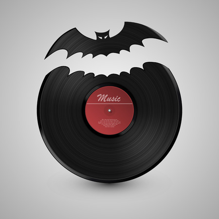 disk jockey: Bat vinyl disk art. Vinyl disk. Vector Illustration Illustration
