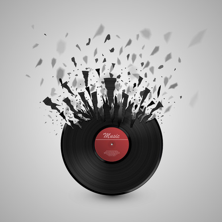 Abstract music background. Vinyl disk explosion. Vector Illustration